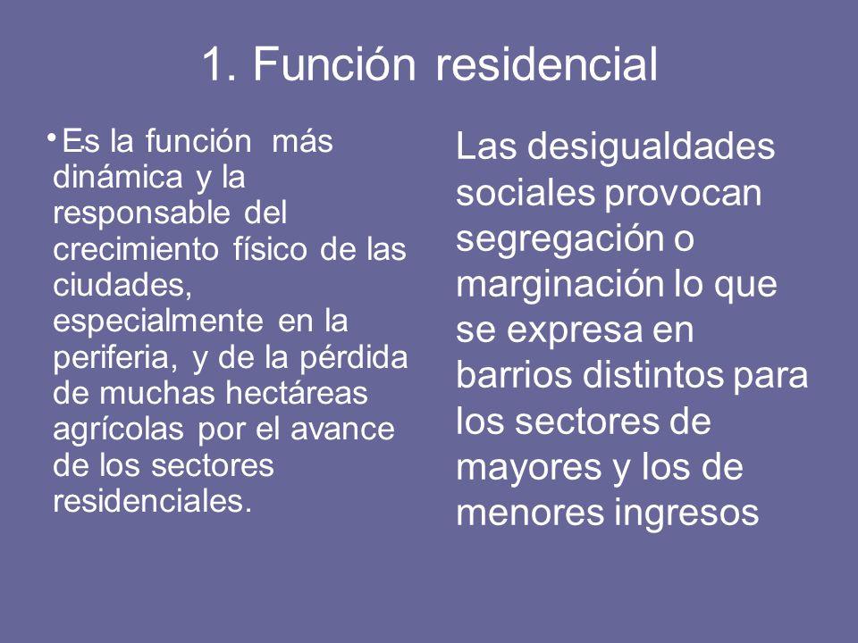 1. Función residencial. Es la función más dinámica y la responsable del crecimiento físico de las ciudades, especialmente en la periferia, y de la pér