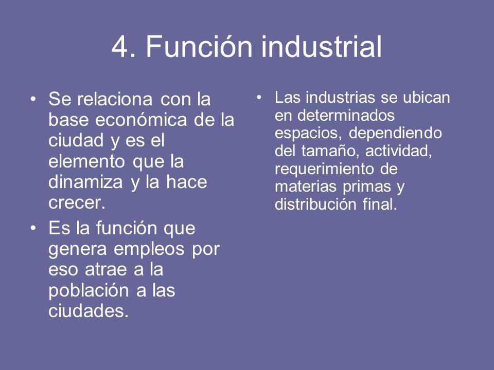 4. Función industrial Se relaciona con la base económica de la ciudad y es el elemento que la dinamiza y la hace crecer. Es la función que genera empl