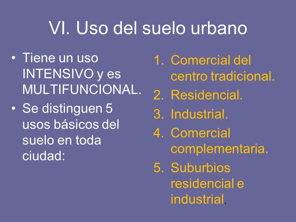 VI. Uso del suelo urbano Tiene un uso INTENSIVO y es MULTIFUNCIONAL. Se distinguen 5 usos básicos del suelo en toda ciudad: 1.Comercial del centro tra