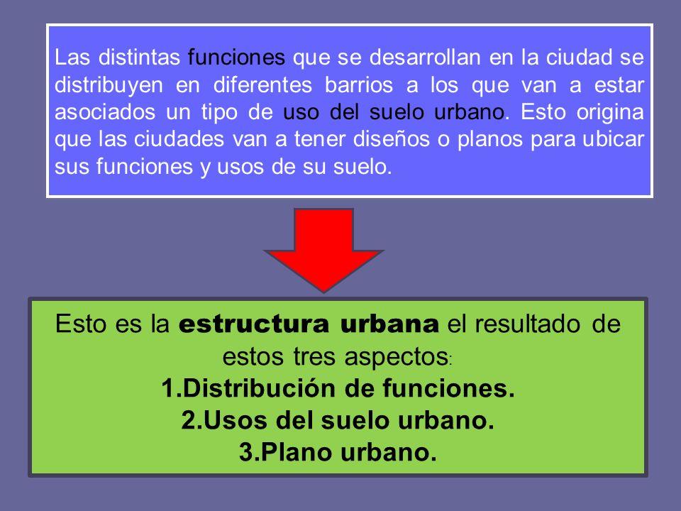 Las distintas funciones que se desarrollan en la ciudad se distribuyen en diferentes barrios a los que van a estar asociados un tipo de uso del suelo