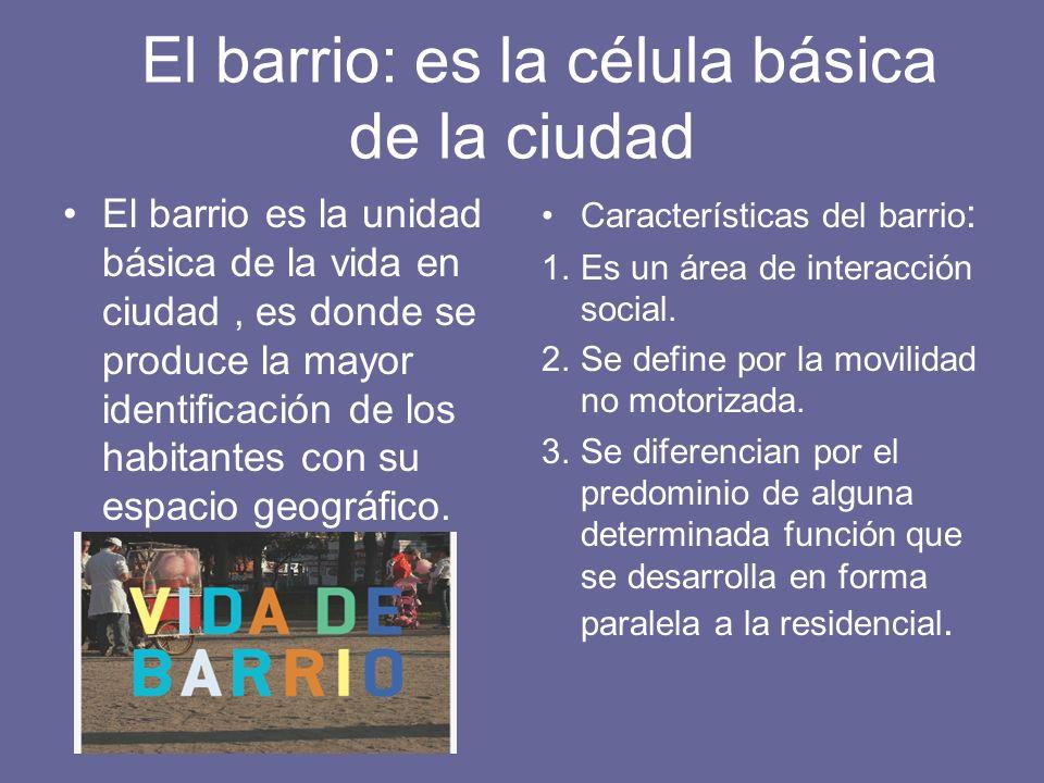 El barrio: es la célula básica de la ciudad El barrio es la unidad básica de la vida en ciudad, es donde se produce la mayor identificación de los hab