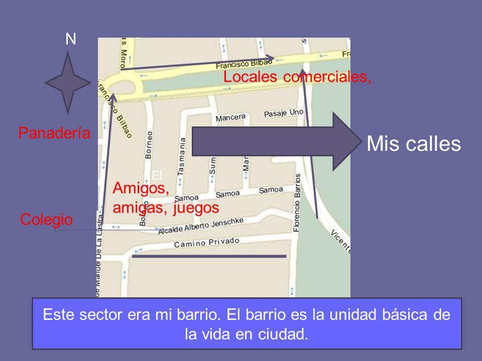 Mis calles Colegio Panadería Amigos, amigas, juegos El Locales comerciales, N Este sector era mi barrio. El barrio es la unidad básica de la vida en c
