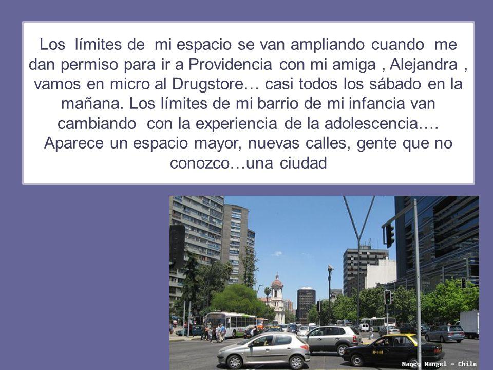 Los límites de mi espacio se van ampliando cuando me dan permiso para ir a Providencia con mi amiga, Alejandra, vamos en micro al Drugstore… casi todo