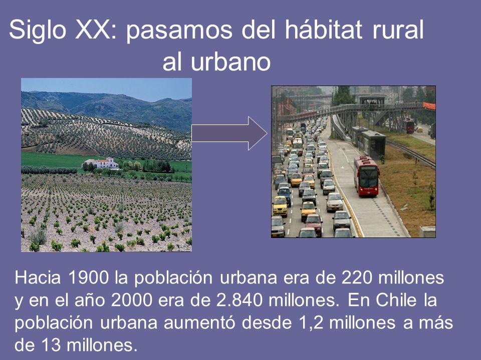 Siglo XX: pasamos del hábitat rural al urbano Hacia 1900 la población urbana era de 220 millones y en el año 2000 era de 2.840 millones. En Chile la p
