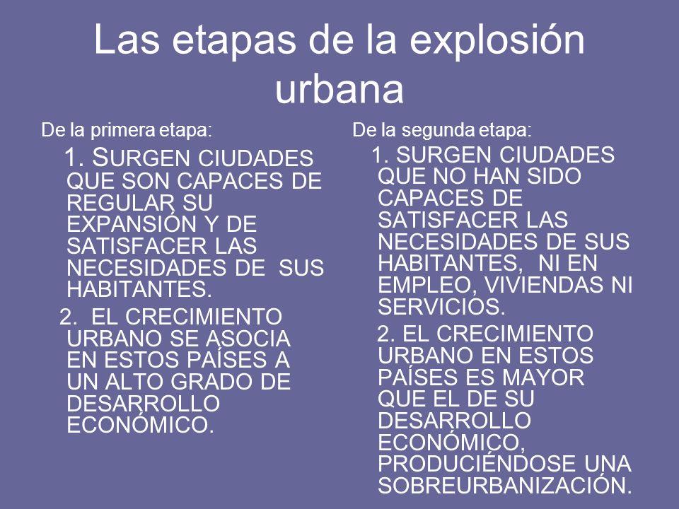 Las etapas de la explosión urbana De la primera etapa: 1. S URGEN CIUDADES QUE SON CAPACES DE REGULAR SU EXPANSIÓN Y DE SATISFACER LAS NECESIDADES DE