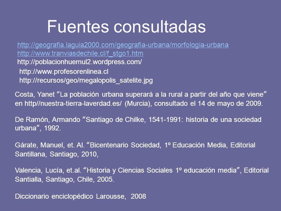 Fuentes consultadas http://geografia.laguia2000.com/geografia-urbana/morfologia-urbana http://www.tranviasdechile.cl/f_stgo1.htm http://poblacionhuemu