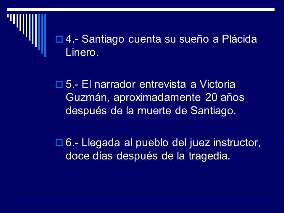 4.- Santiago cuenta su sueño a Plácida Linero. 5.- El narrador entrevista a Victoria Guzmán, aproximadamente 20 años después de la muerte de Santiago.