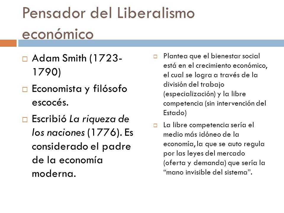 Pensador del Liberalismo económico Adam Smith (1723- 1790) Economista y filósofo escocés. Escribió La riqueza de los naciones (1776). Es considerado e