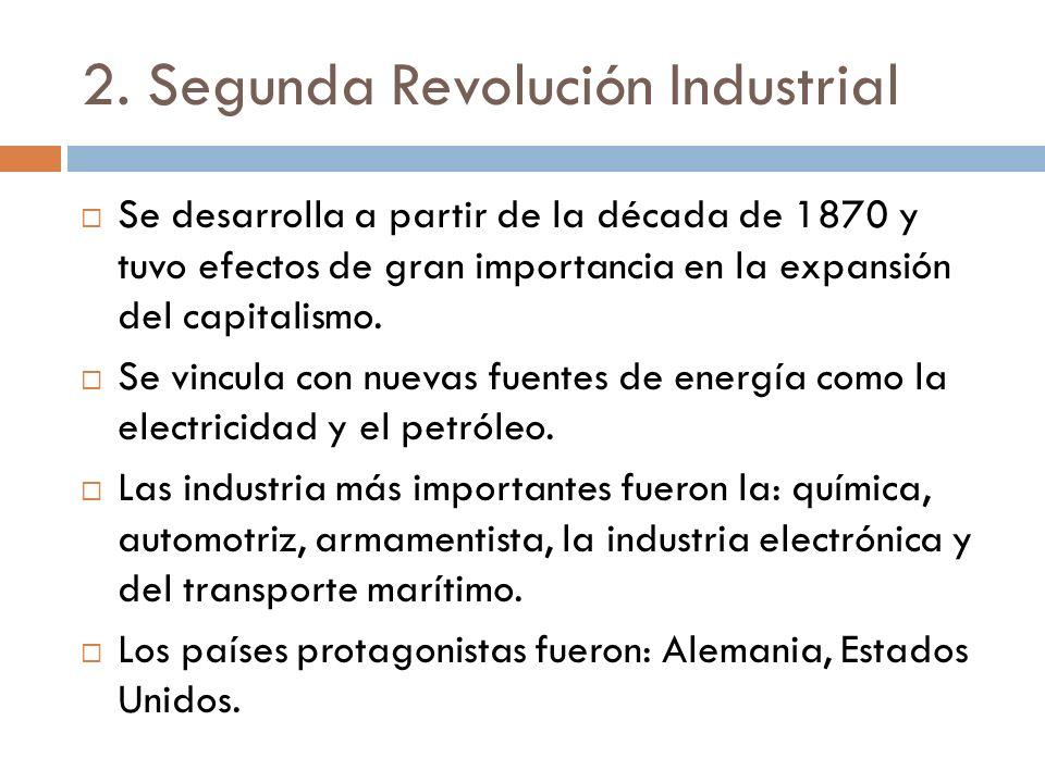 2. Segunda Revolución Industrial Se desarrolla a partir de la década de 1870 y tuvo efectos de gran importancia en la expansión del capitalismo. Se vi