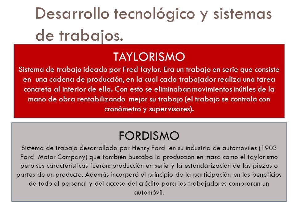 Desarrollo tecnológico y sistemas de trabajos. TAYLORISMO Sistema de trabajo ideado por Fred Taylor. Era un trabajo en serie que consiste en una caden