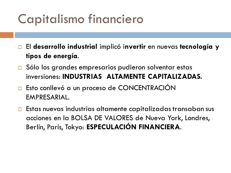 Capitalismo financiero El desarrollo industrial implicó invertir en nuevas tecnología y tipos de energía. Sólo los grandes empresarios pudieron solven