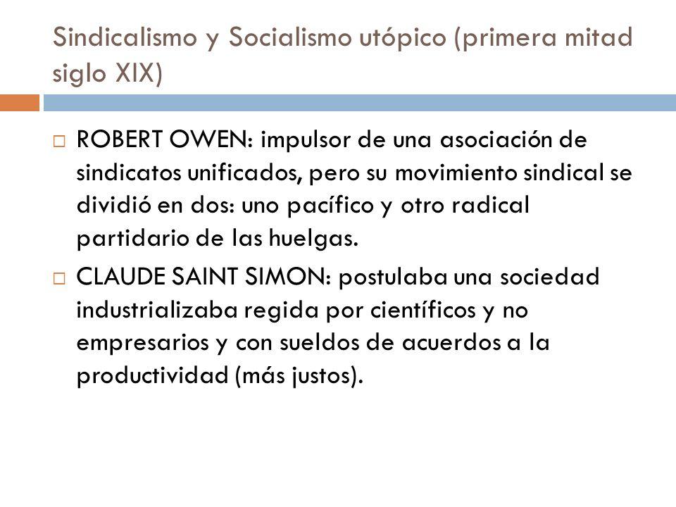 Sindicalismo y Socialismo utópico (primera mitad siglo XIX) ROBERT OWEN: impulsor de una asociación de sindicatos unificados, pero su movimiento sindi
