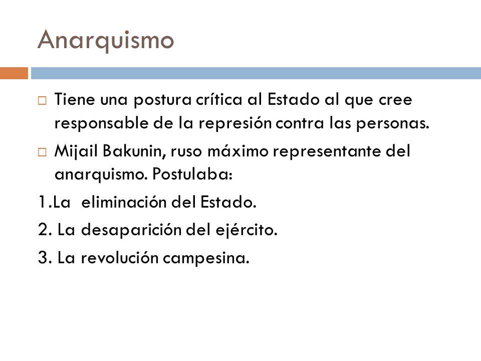 Anarquismo Tiene una postura crítica al Estado al que cree responsable de la represión contra las personas. Mijail Bakunin, ruso máximo representante