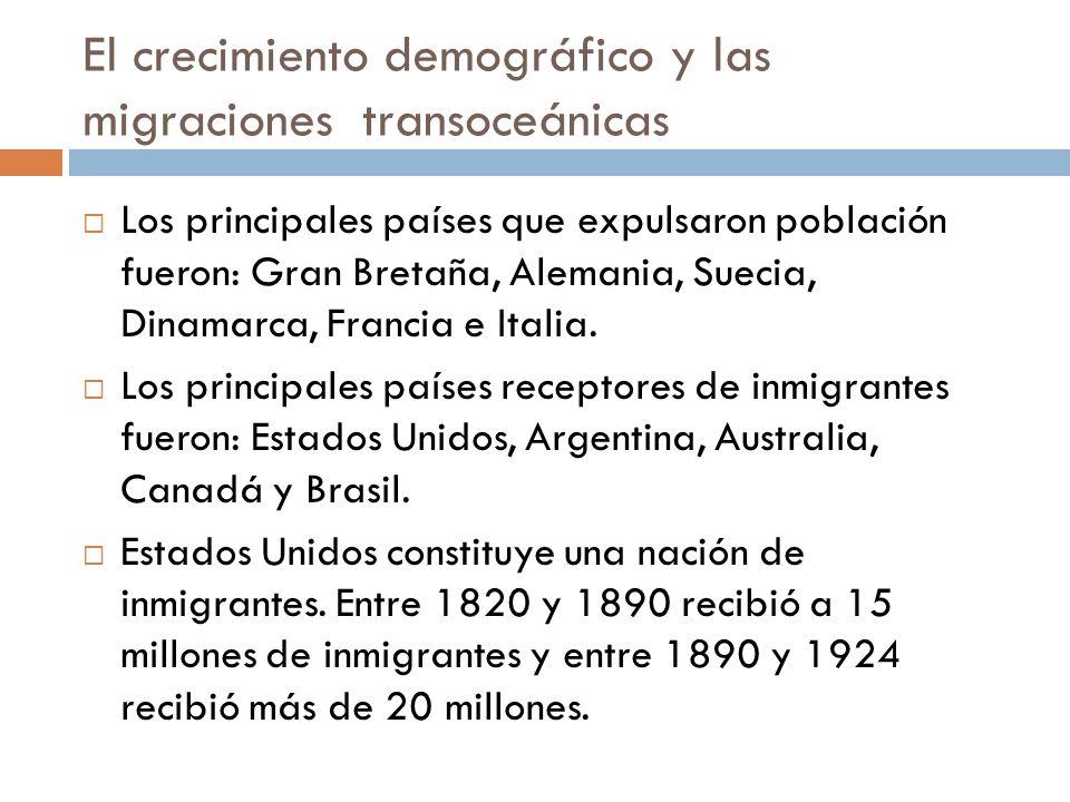 El crecimiento demográfico y las migraciones transoceánicas Los principales países que expulsaron población fueron: Gran Bretaña, Alemania, Suecia, Di