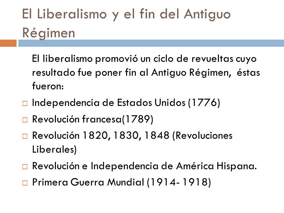 El Liberalismo y el fin del Antiguo Régimen El liberalismo promovió un ciclo de revueltas cuyo resultado fue poner fin al Antiguo Régimen, éstas fuero