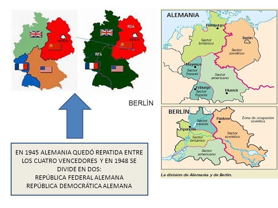 EN 1945 ALEMANIA QUEDÓ REPATIDA ENTRE LOS CUATRO VENCEDORES Y EN 1948 SE DIVIDE EN DOS: REPÚBLICA FEDERAL ALEMANA REPÚBLICA DEMOCRÁTICA ALEMANA BERLÌN