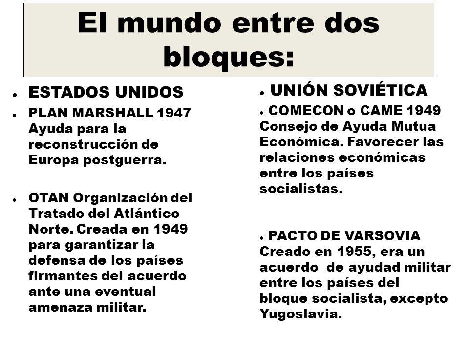 El mundo entre dos bloques: ESTADOS UNIDOS PLAN MARSHALL 1947 Ayuda para la reconstrucción de Europa postguerra.