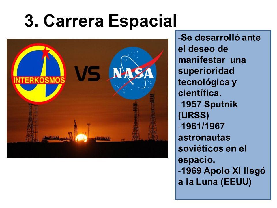 3. Carrera Espacial - Se desarrolló ante el deseo de manifestar una superioridad tecnológica y científica. - 1957 Sputnik (URSS) - 1961/1967 astronaut