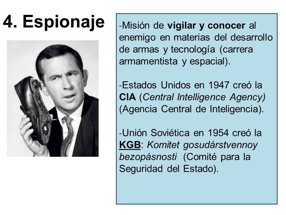 4. Espionaje - Misión de vigilar y conocer al enemigo en materias del desarrollo de armas y tecnología (carrera armamentista y espacial). - Estados Un