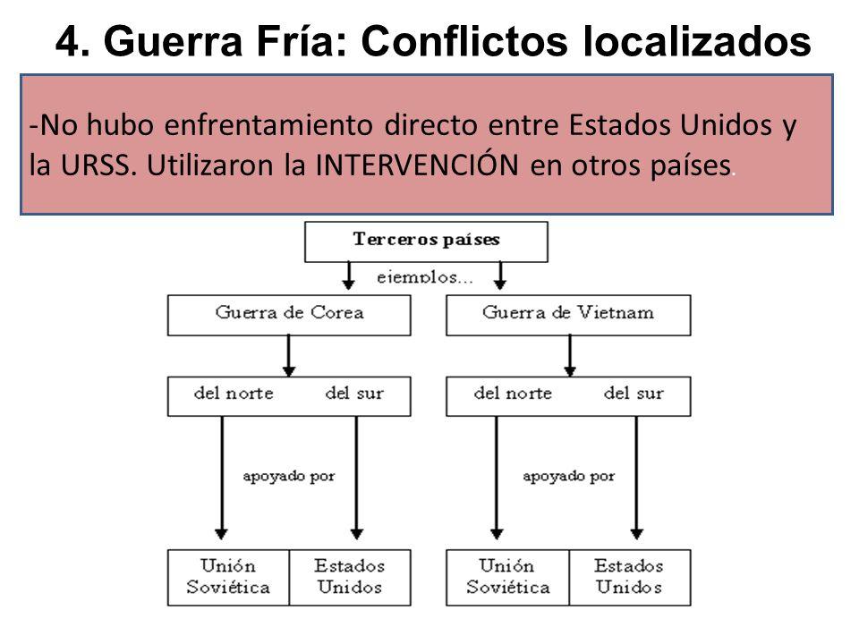 4. Guerra Fría: Conflictos localizados -No hubo enfrentamiento directo entre Estados Unidos y la URSS. Utilizaron la INTERVENCIÓN en otros países.