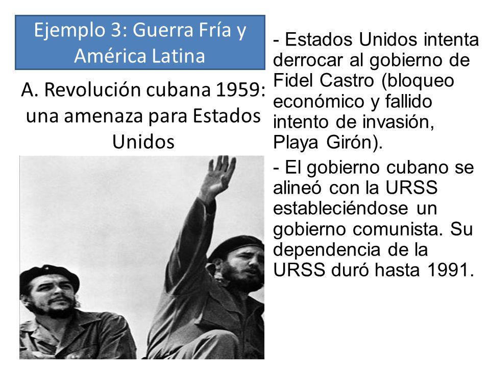 A. Revolución cubana 1959: una amenaza para Estados Unidos - Estados Unidos intenta derrocar al gobierno de Fidel Castro (bloqueo económico y fallido