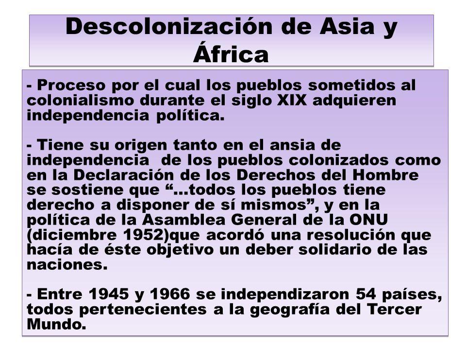 Descolonización de Asia y África - Proceso por el cual los pueblos sometidos al colonialismo durante el siglo XIX adquieren independencia política.