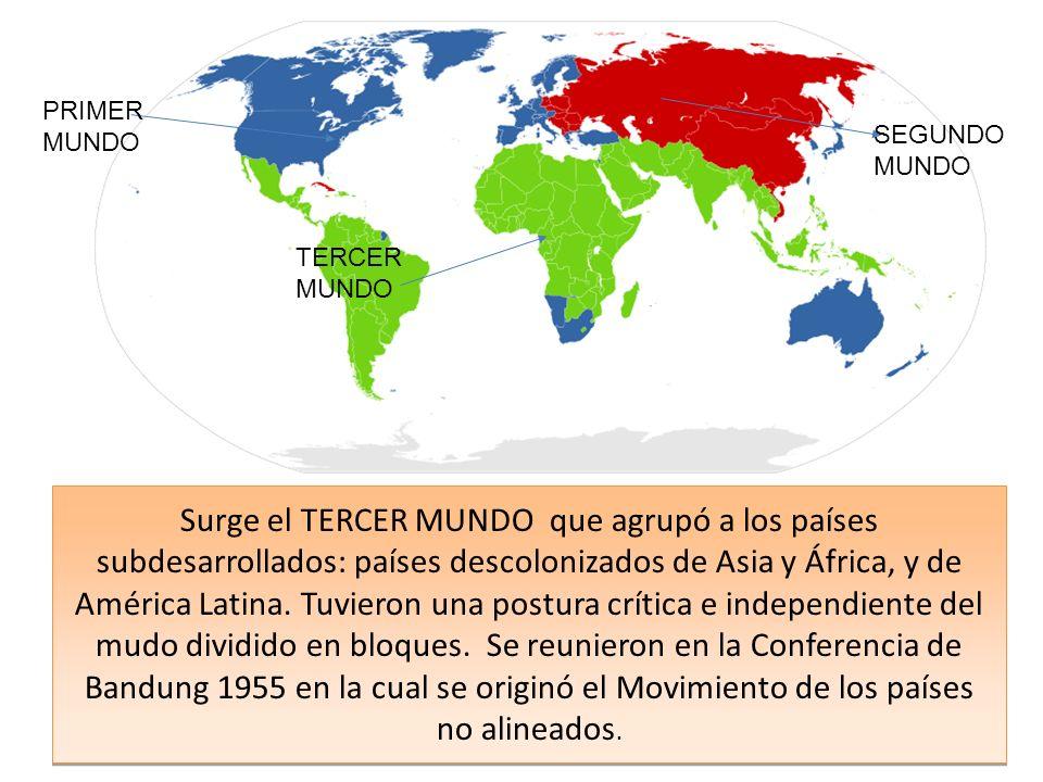 Surge el TERCER MUNDO que agrupó a los países subdesarrollados: países descolonizados de Asia y África, y de América Latina.