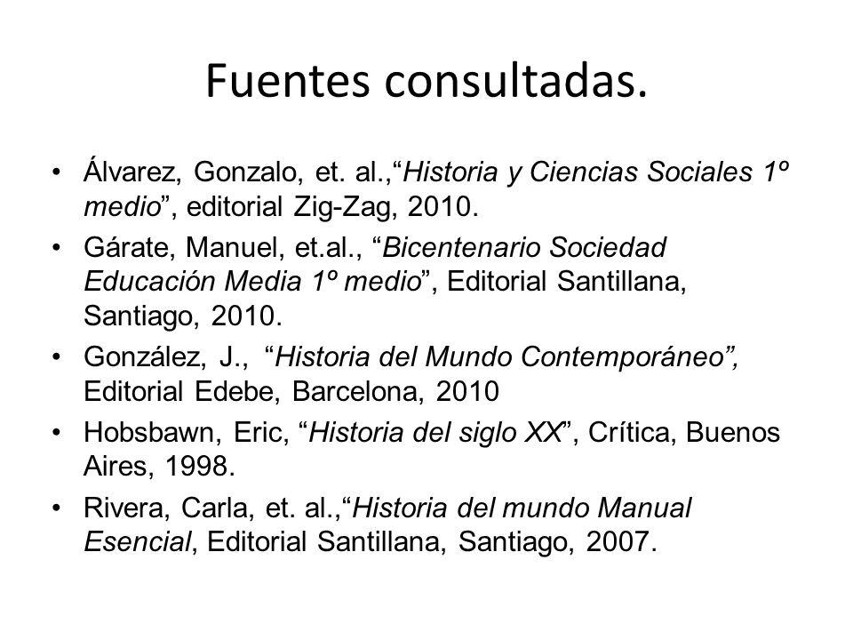 Fuentes consultadas. Álvarez, Gonzalo, et.