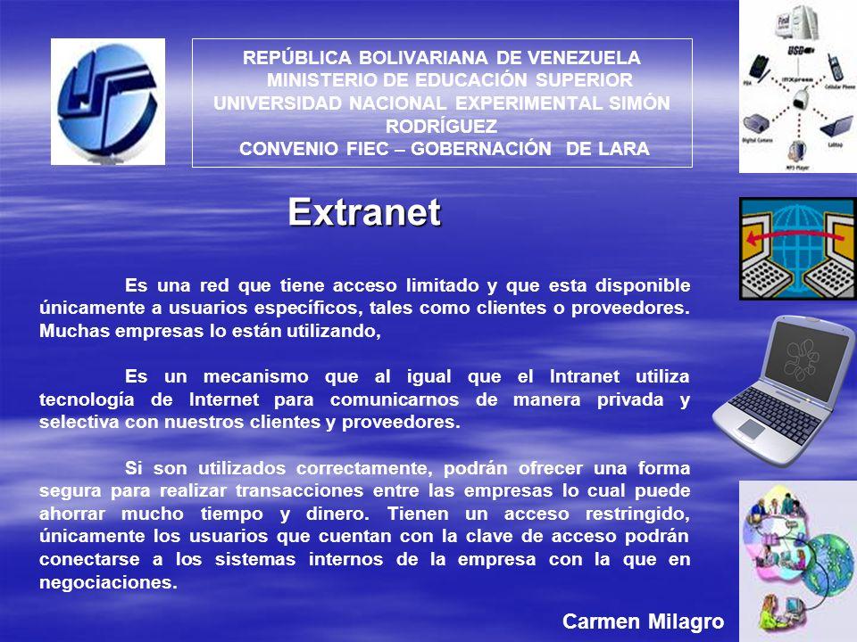 REPÚBLICA BOLIVARIANA DE VENEZUELA MINISTERIO DE EDUCACIÓN SUPERIOR UNIVERSIDAD NACIONAL EXPERIMENTAL SIMÓN RODRÍGUEZ CONVENIO FIEC – GOBERNACIÓN DE L