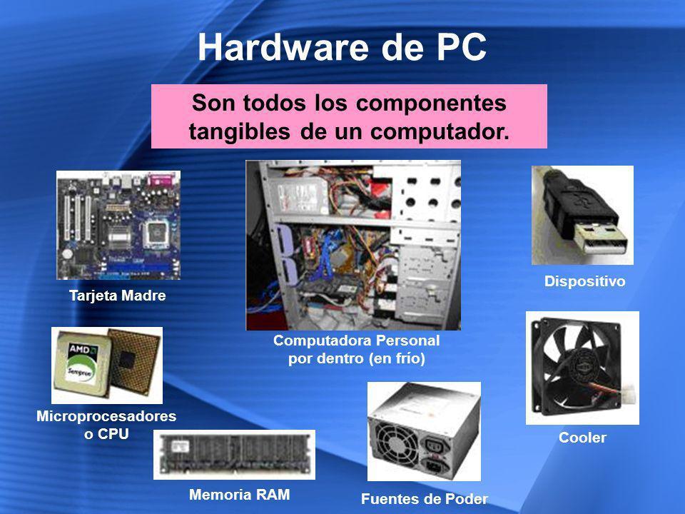 Componentes del Hardware Periféricos de Almacenamiento Disco Duro Discos Ópticos Disquettes Memorias Flash Periféricos de Salida Monitores Impresoras Altavoces