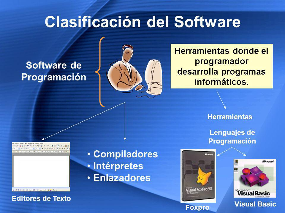 Clasificación del Software Software de Aplicación Permite a los usuarios llevar a cabo una o varias tareas específicas.