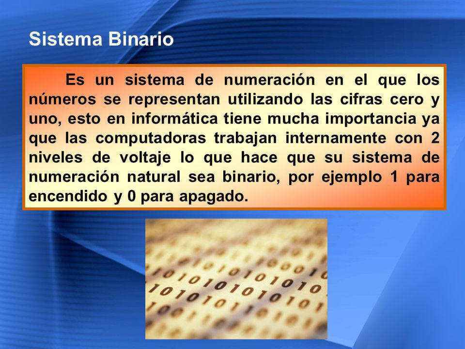 Sistema Binario Es un sistema de numeración en el que los números se representan utilizando las cifras cero y uno, esto en informática tiene mucha imp