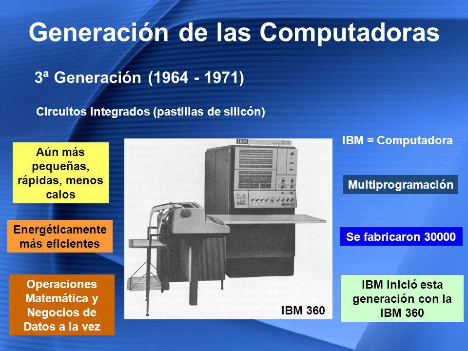4ª Generación (1971 - 1981) Generación de las Computadoras Chips de Silicio + Componentes en un Chip Micro miniaturización de los circuitos electrónicos Tamaño reducido del micro procesador Creación de la PC Intel Corporation Pequeña empresa que creaba Semiconductores Presenta el primer microprocesador o chip de 4 bits Microprocesador 4004 Apple Computer – IBM Se unieron