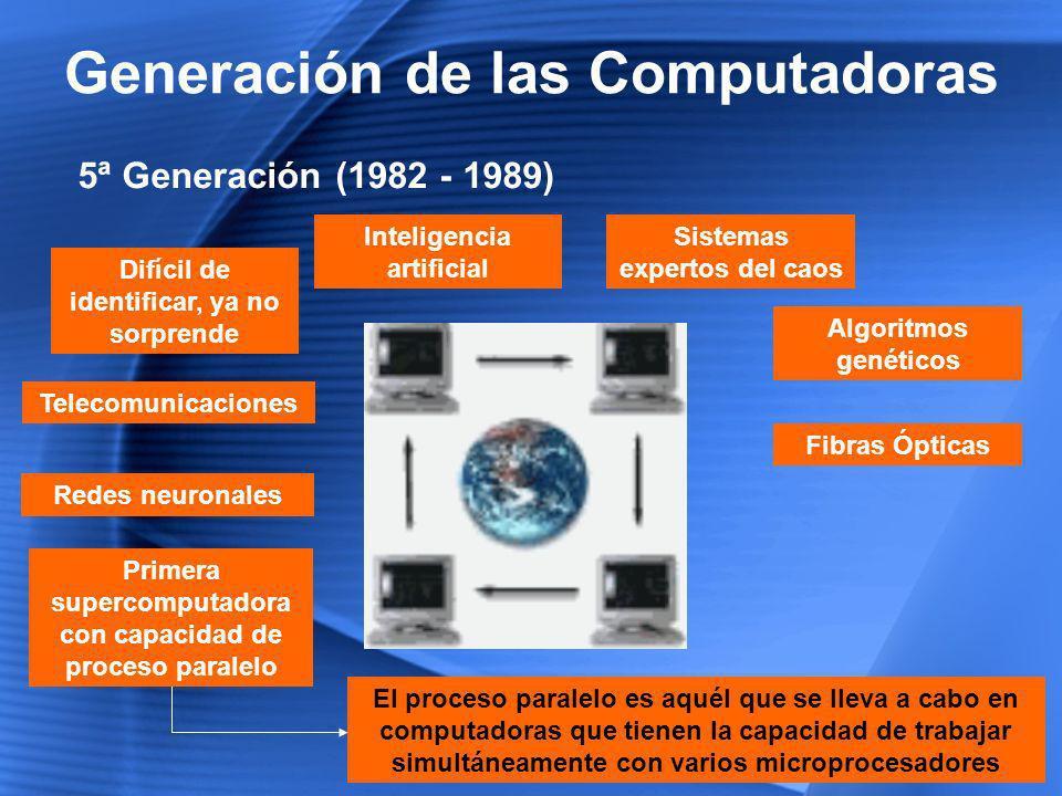 Generación de las Computadoras 6ª Generación (1999 – Hasta la Fecha) Arquitecturas combinadas Paralelo / Vectorial Cientos de microprocesadores vectoriales trabajando al mismo tiempo Crecen las las redes de área mundial, por las fibras ópticas y satélites Más de un millón de millones de operaciones aritméticas de punto flotante por segundo (teraflops) Robótica