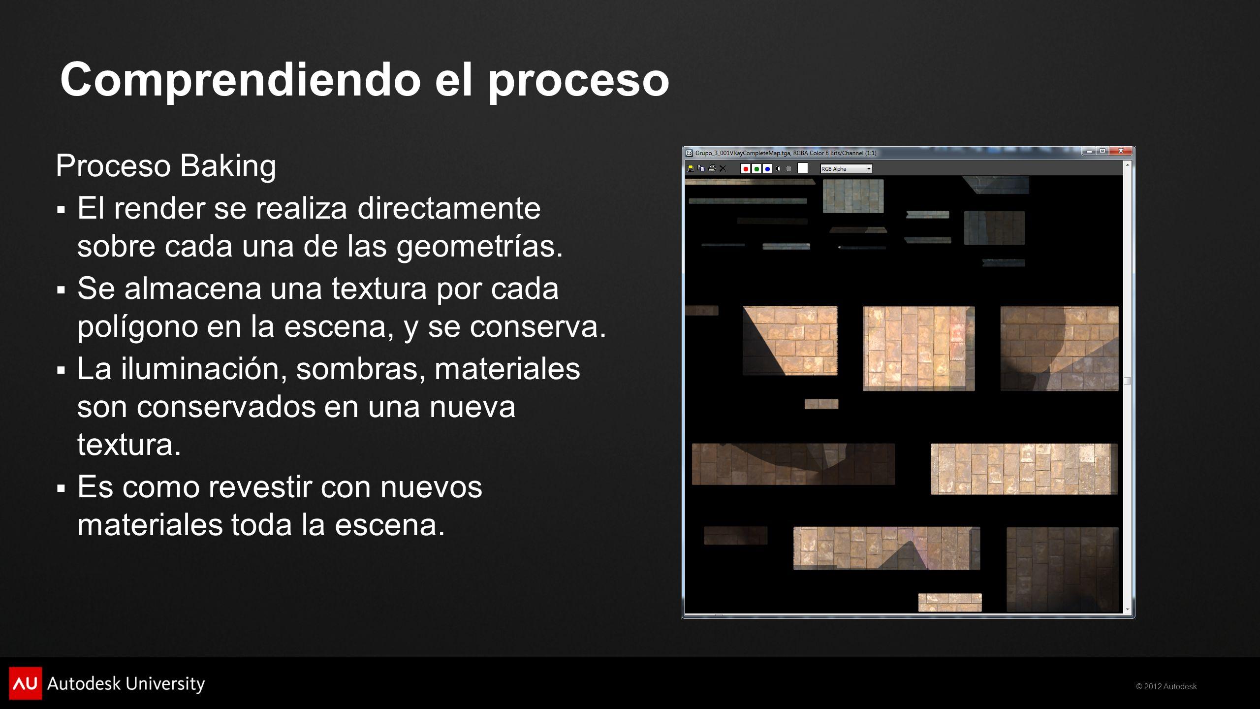 © 2012 Autodesk Comprendiendo el proceso Proceso Baking El render se realiza directamente sobre cada una de las geometrías. Se almacena una textura po