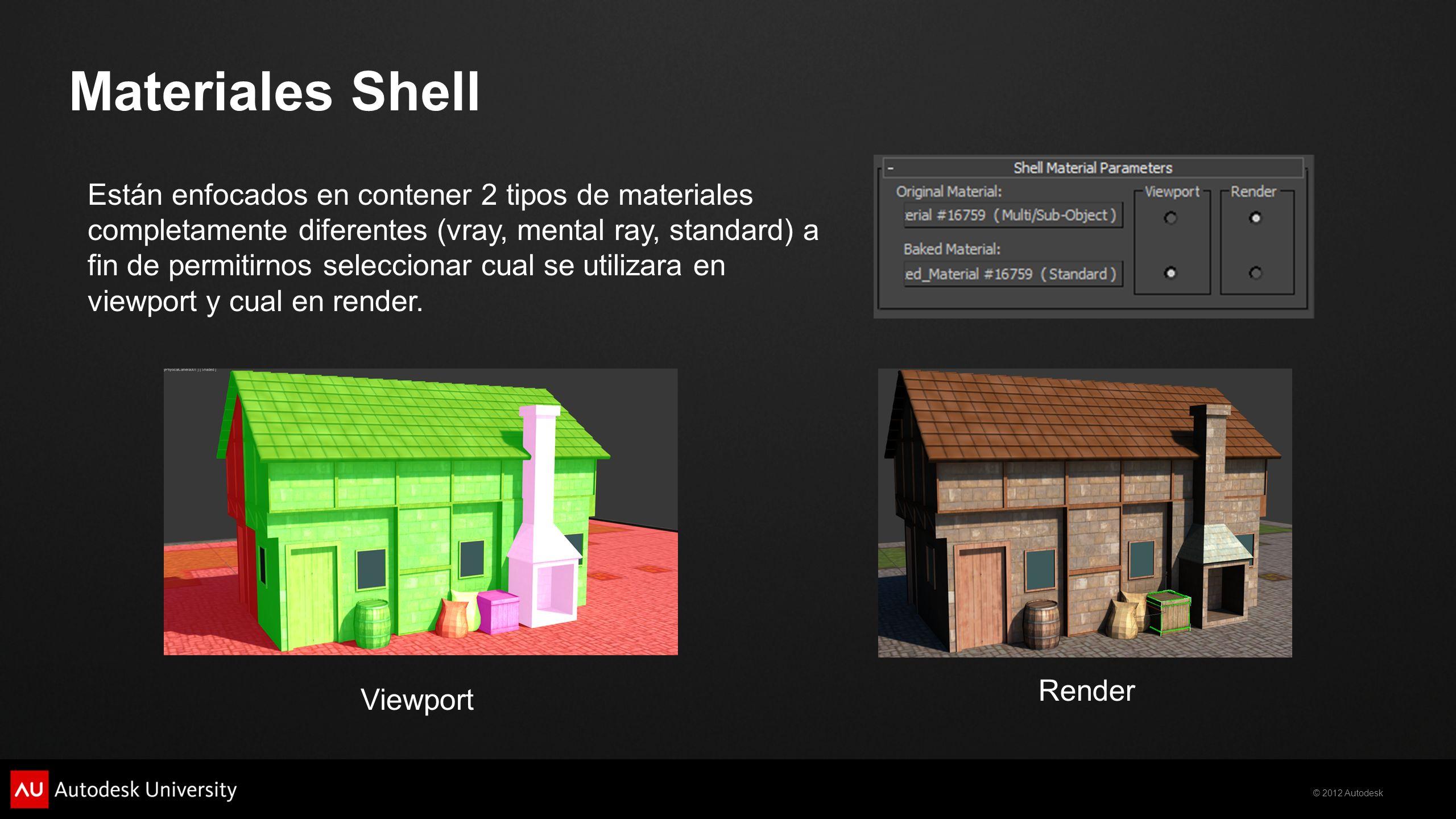 © 2012 Autodesk Materiales Shell Viewport Render Están enfocados en contener 2 tipos de materiales completamente diferentes (vray, mental ray, standar