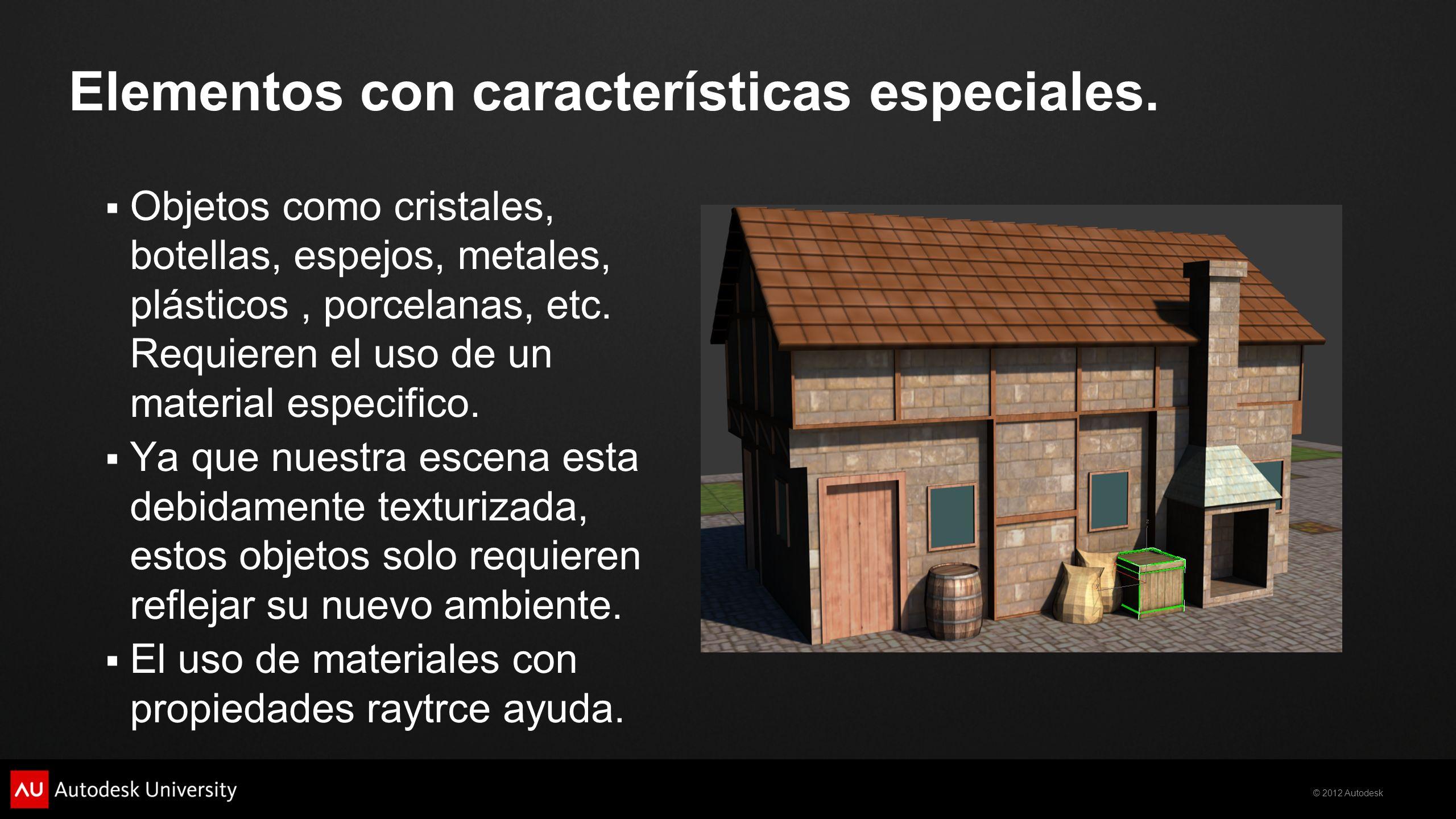 © 2012 Autodesk Objetos como cristales, botellas, espejos, metales, plásticos, porcelanas, etc. Requieren el uso de un material especifico. Ya que nue