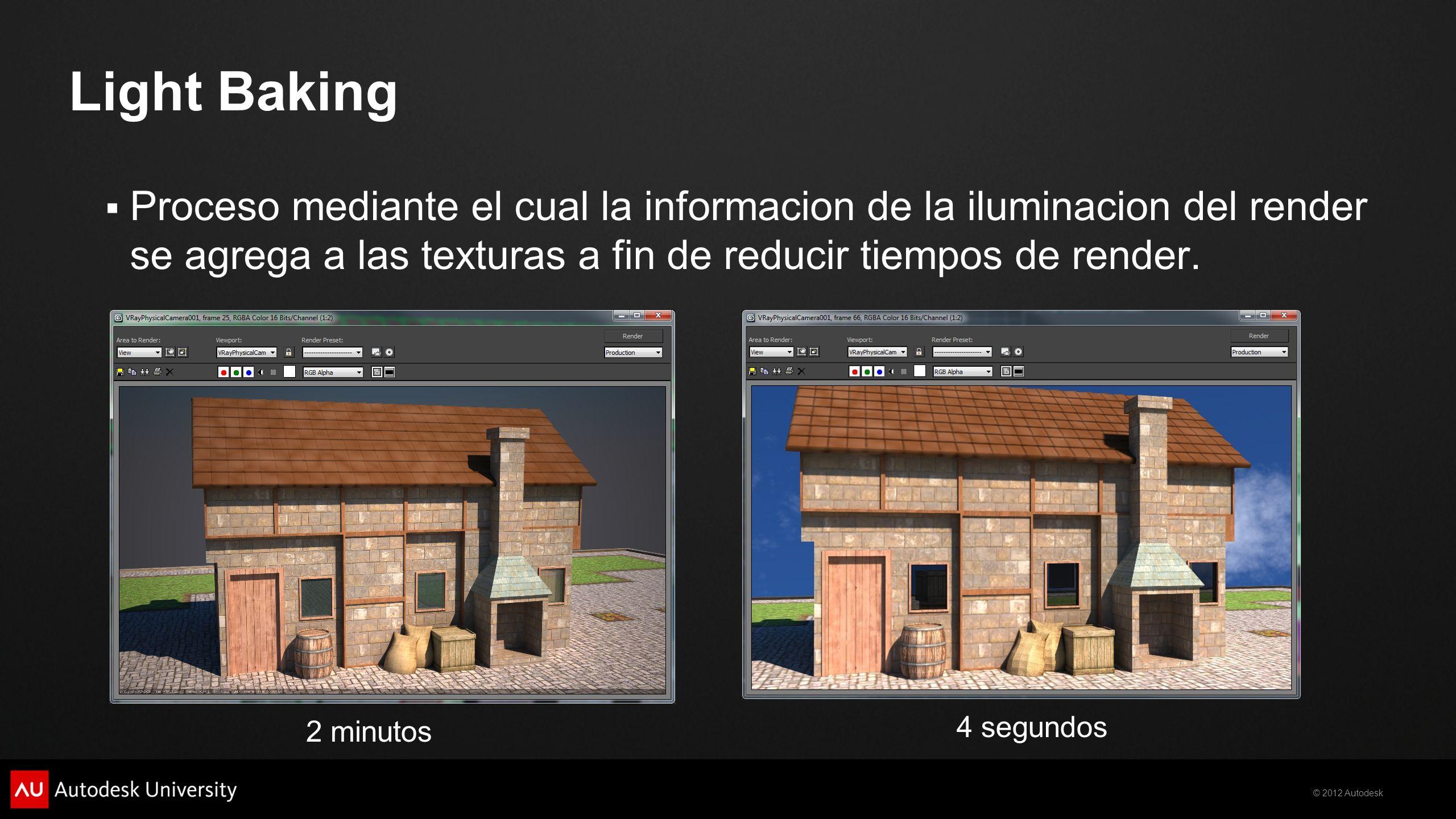 © 2012 Autodesk Proceso mediante el cual la informacion de la iluminacion del render se agrega a las texturas a fin de reducir tiempos de render. Ligh