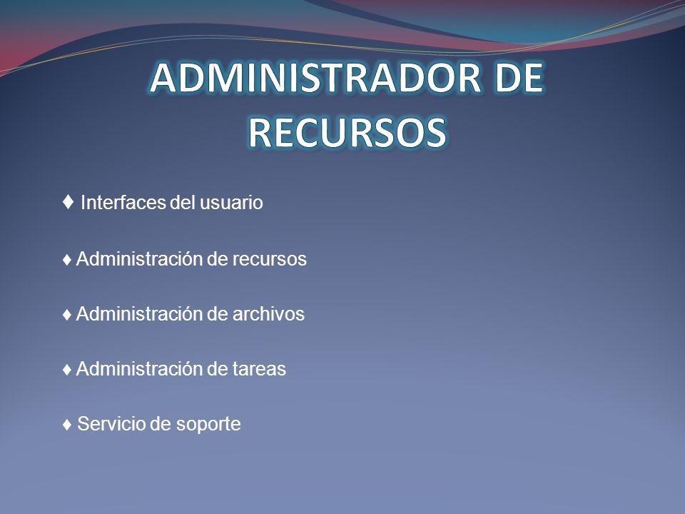 Interfaces del usuario Administración de recursos Administración de archivos Administración de tareas Servicio de soporte