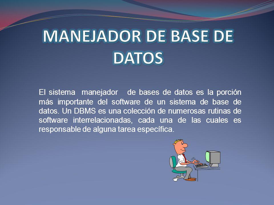 El sistema manejador de bases de datos es la porción más importante del software de un sistema de base de datos. Un DBMS es una colección de numerosas