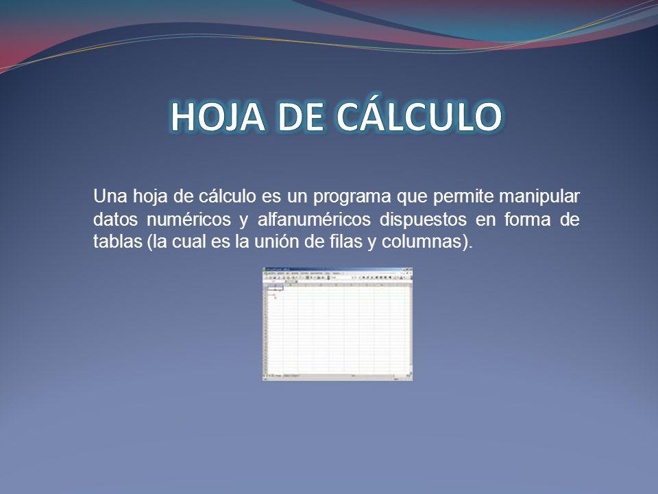 Una hoja de cálculo es un programa que permite manipular datos numéricos y alfanuméricos dispuestos en forma de tablas (la cual es la unión de filas y