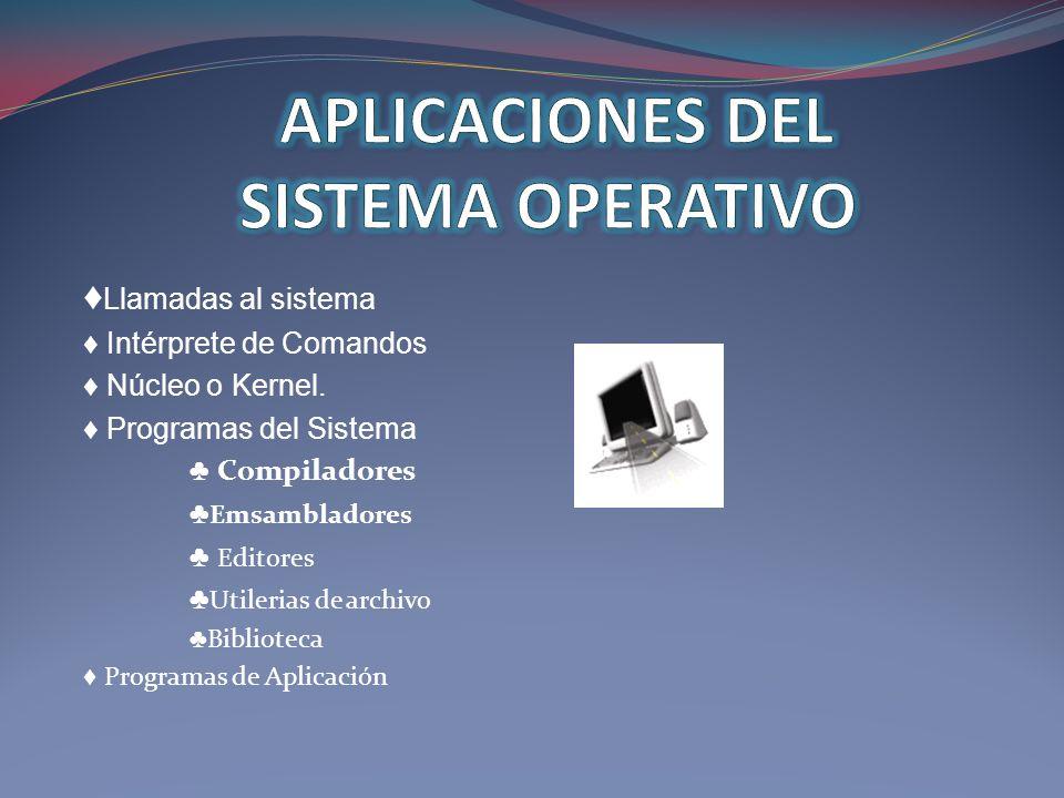 Llamadas al sistema Intérprete de Comandos Núcleo o Kernel. Programas del Sistema Compiladores Emsambladores Editores Utilerias de archivo Biblioteca