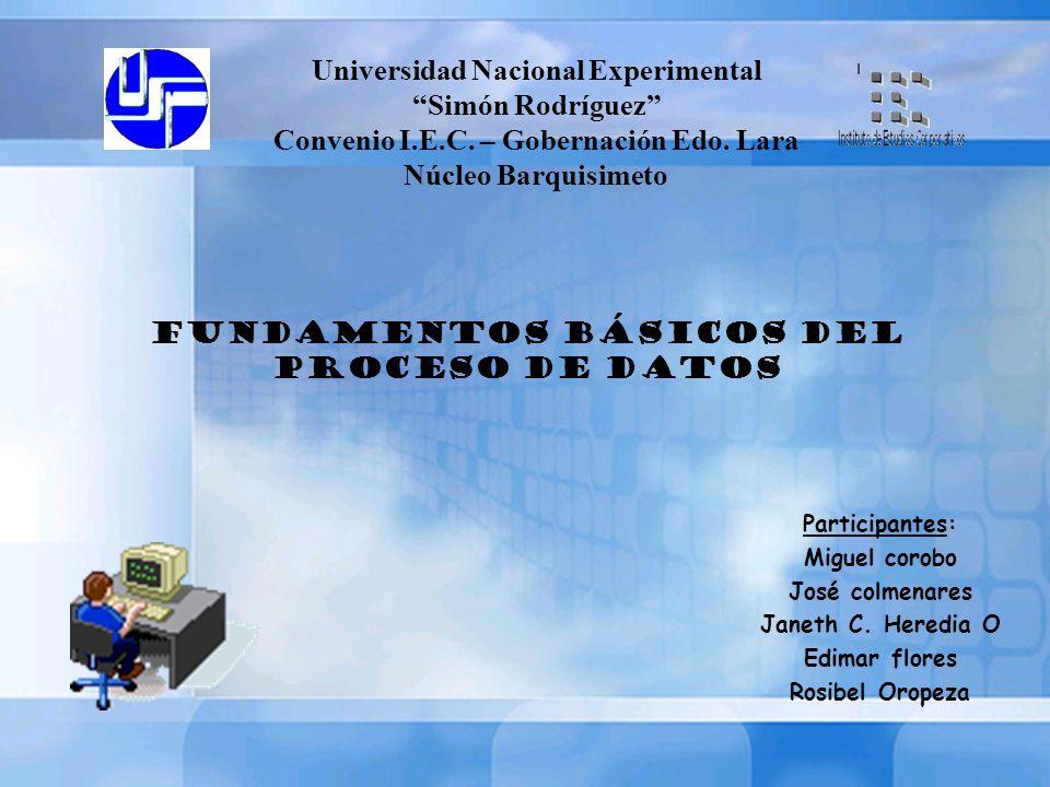 Universidad Nacional Experimental Simón Rodríguez Convenio I.E.C. – Gobernación Edo. Lara Núcleo Barquisimeto Participantes: Miguel corobo José colmen