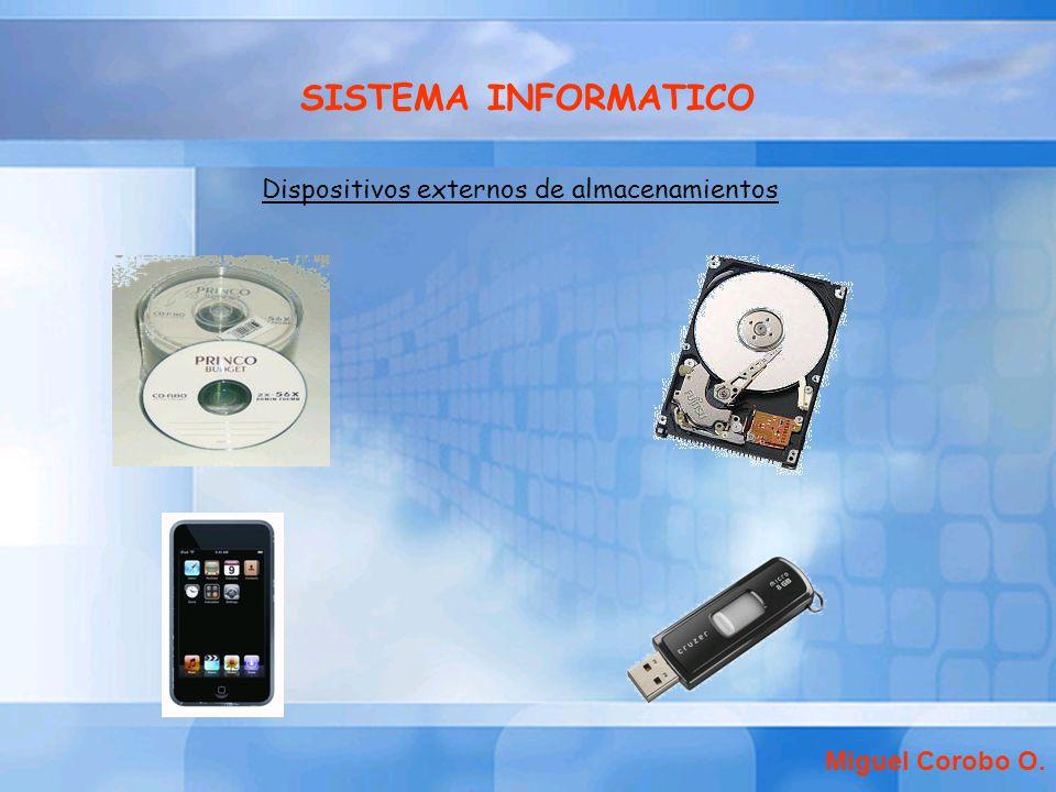 SISTEMA INFORMATICO Dispositivos externos de almacenamientos Miguel Corobo O.