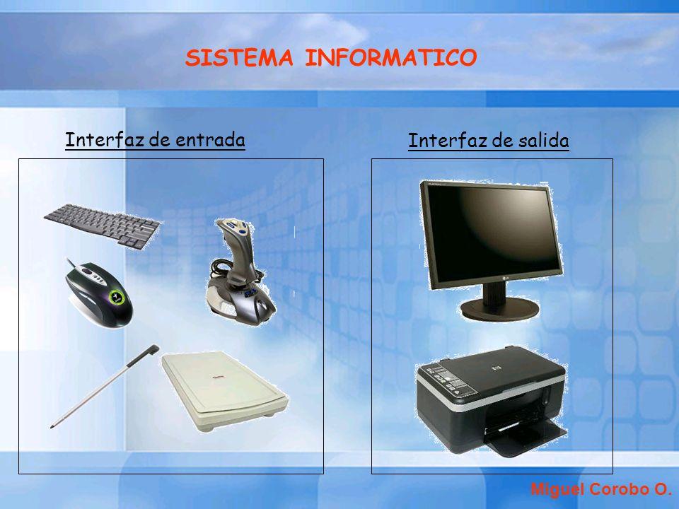 Interfaz de entrada Interfaz de salida Miguel Corobo O. SISTEMA INFORMATICO