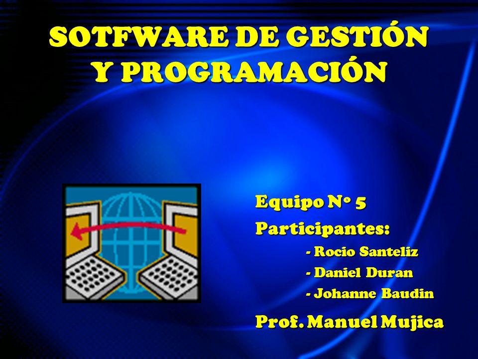 SOTFWARE DE GESTIÓN Y PROGRAMACIÓN Equipo Nº 5 Participantes: - Rocio Santeliz - Rocio Santeliz - Daniel Duran - Daniel Duran - Johanne Baudin - Johanne Baudin Prof.