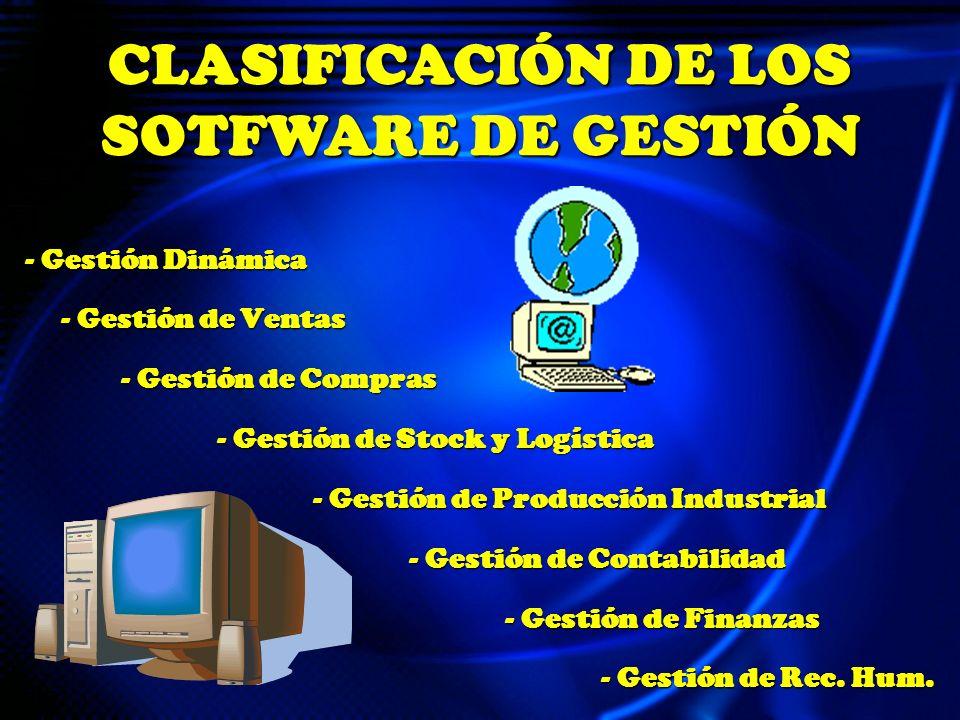 - Gestión Dinámica - Gestión de Ventas - Gestión de Compras - Gestión de Stock y Logística - Gestión de Producción Industrial - Gestión de Contabilidad - Gestión de Finanzas - Gestión de Rec.