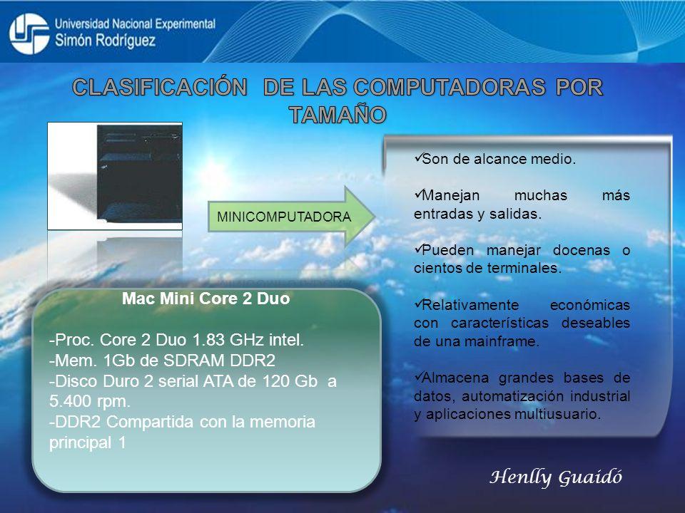 Mac Mini Core 2 Duo -Proc. Core 2 Duo 1.83 GHz intel. -Mem. 1Gb de SDRAM DDR2 -Disco Duro 2 serial ATA de 120 Gb a 5.400 rpm. -DDR2 Compartida con la