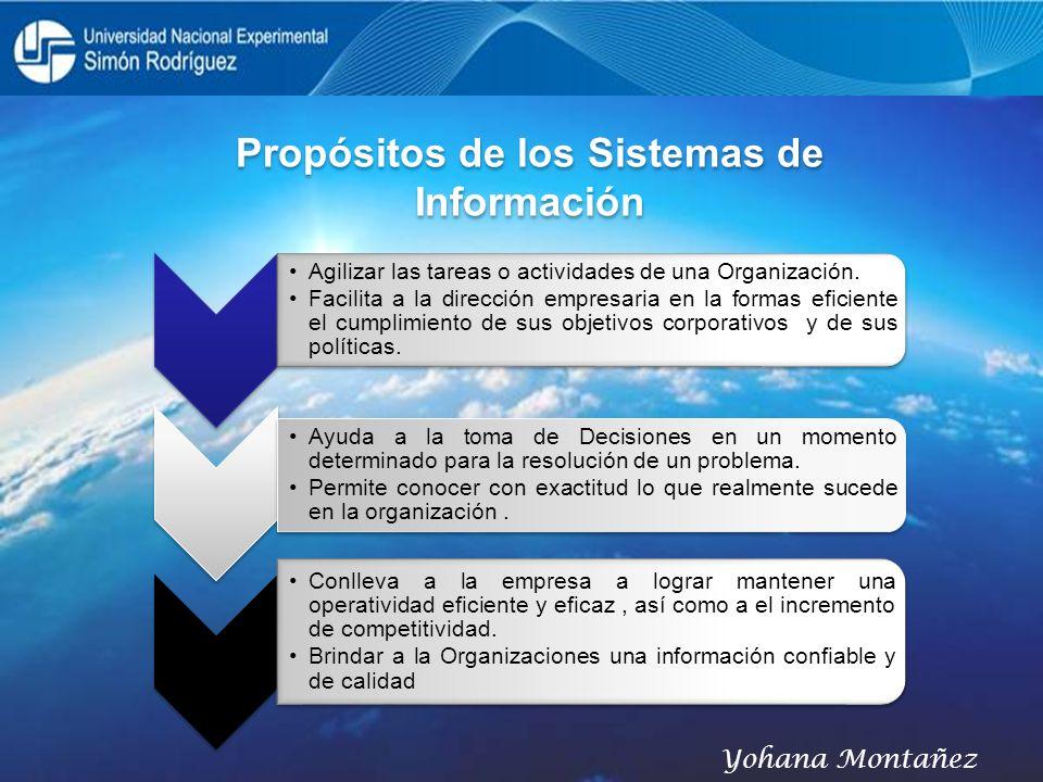 Propósitos de los Sistemas de Información Agilizar las tareas o actividades de una Organización. Facilita a la dirección empresaria en la formas efici