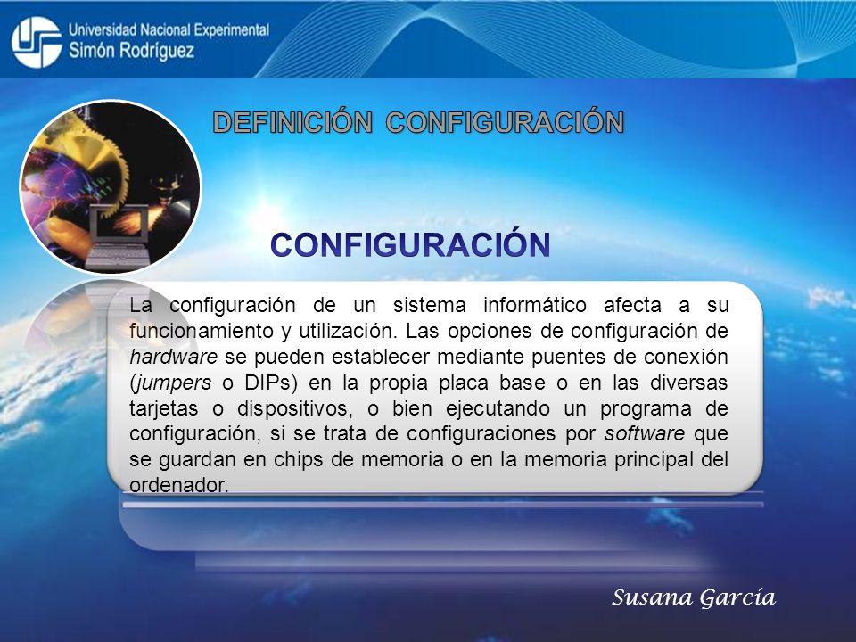 La configuración de un sistema informático afecta a su funcionamiento y utilización. Las opciones de configuración de hardware se pueden establecer me